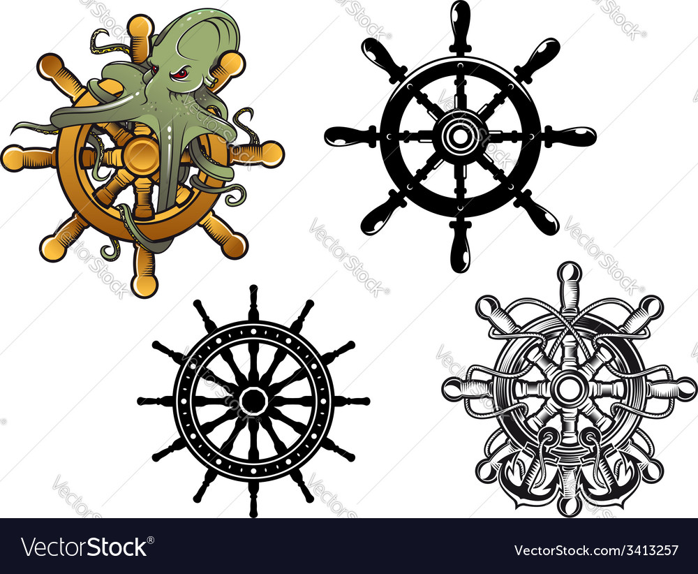 Octopus ans ship steering wheels vector | Price: 1 Credit (USD $1)