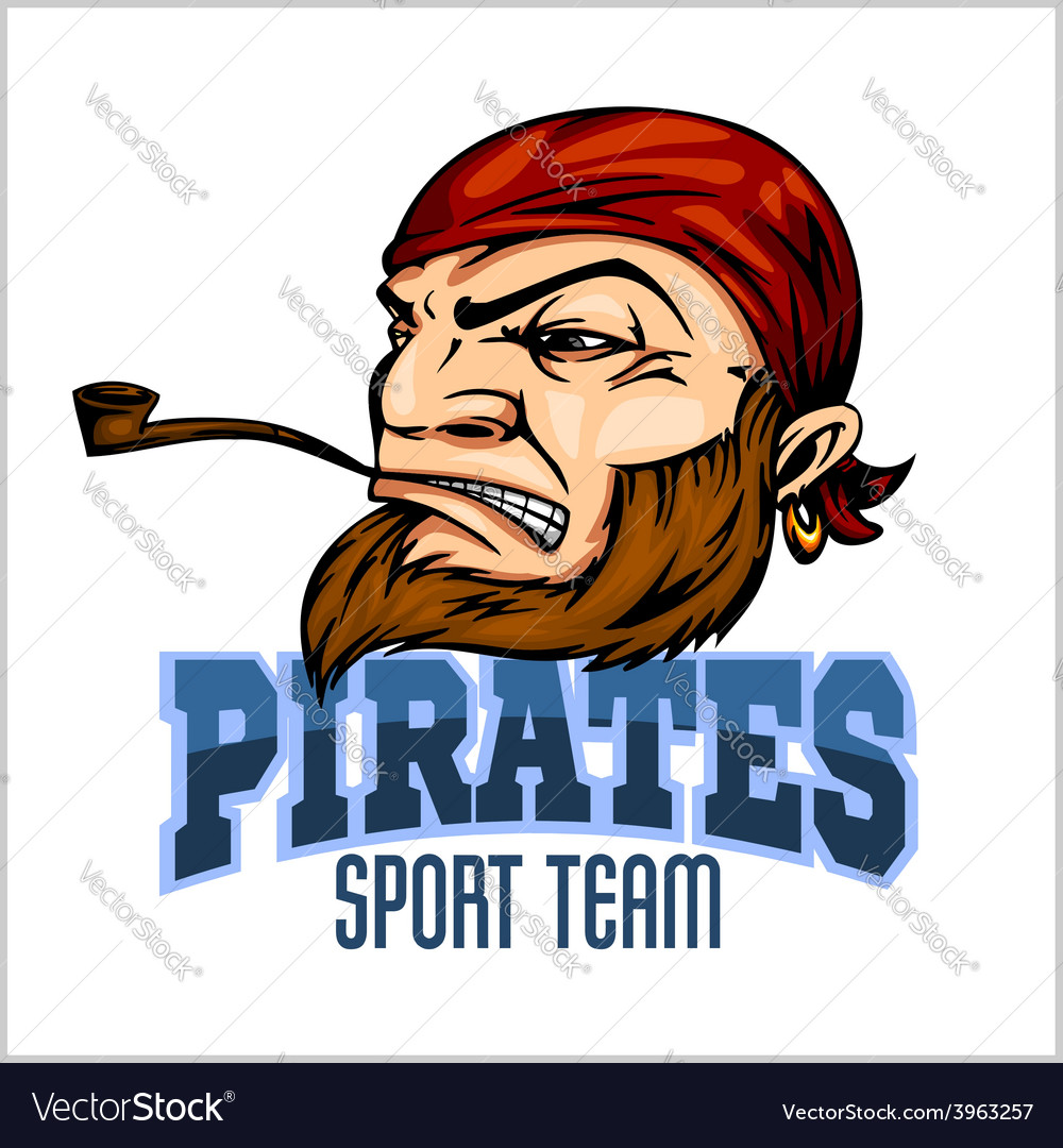 Pirate mascot with bandana and pipe vector | Price: 1 Credit (USD $1)