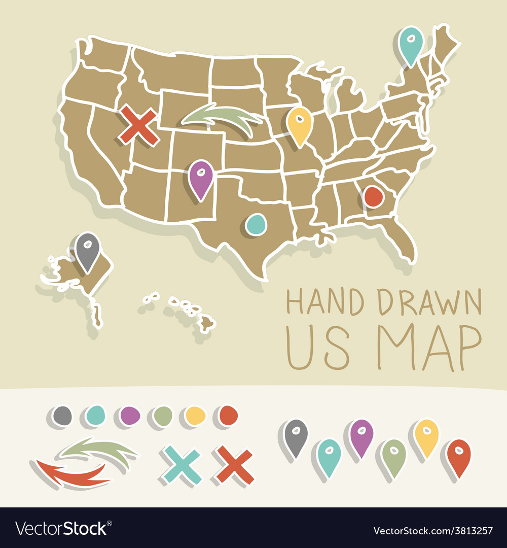 Retro handdrawn us map travel vector | Price: 1 Credit (USD $1)