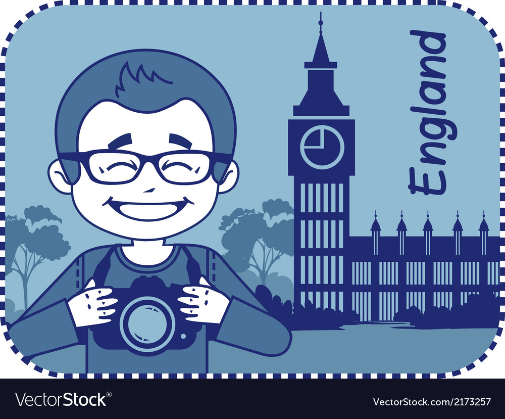 Teaser with photographer travels through england vector | Price: 1 Credit (USD $1)