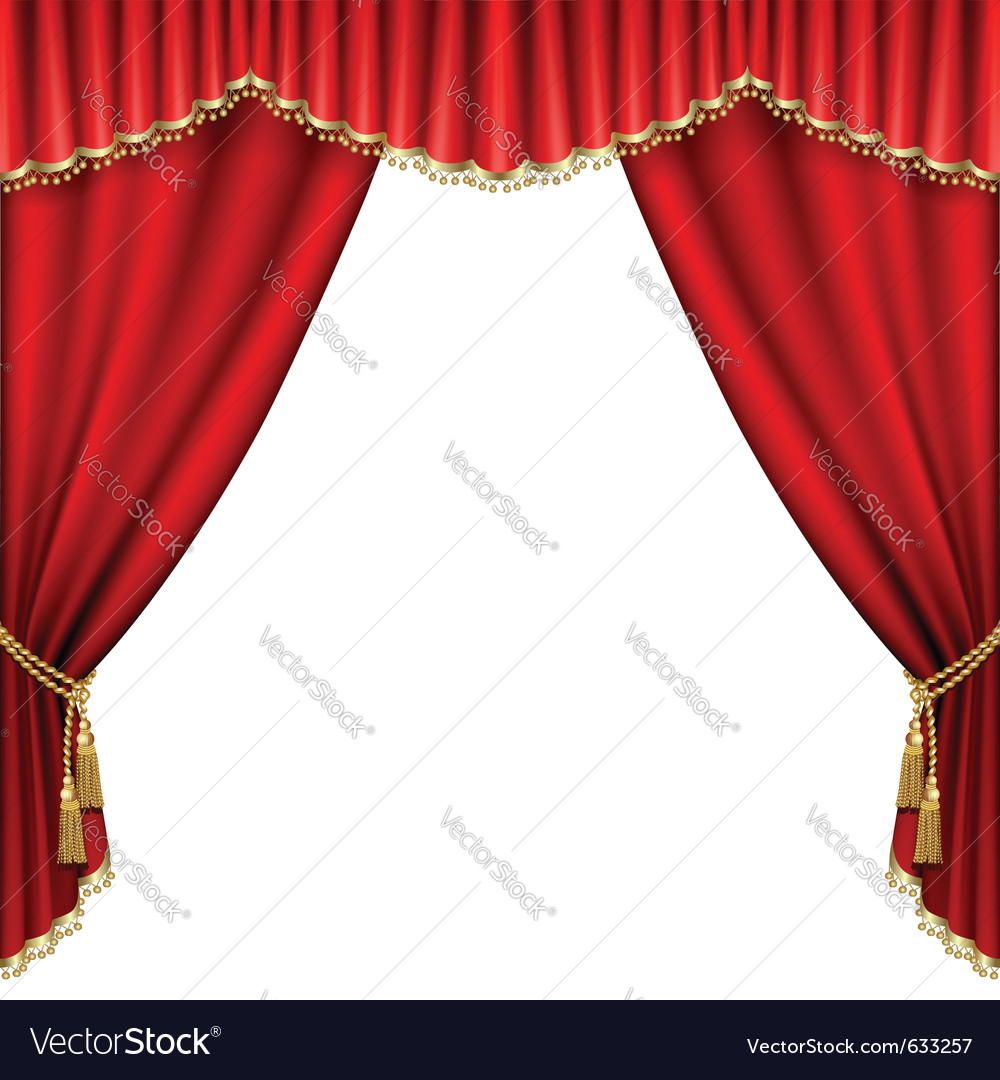 Ter stage with red curtain isolated on white vector | Price: 1 Credit (USD $1)
