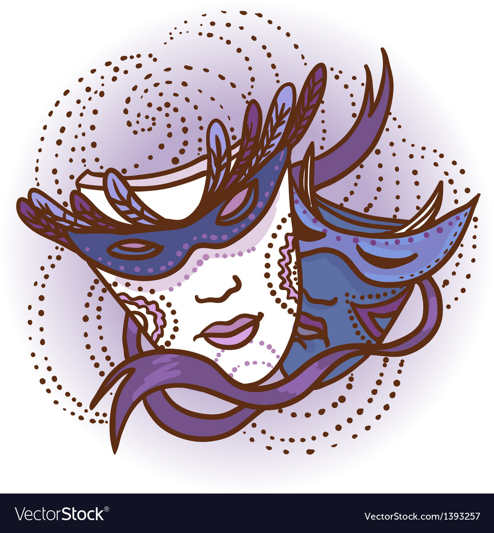 Two carnival masks vector | Price: 1 Credit (USD $1)
