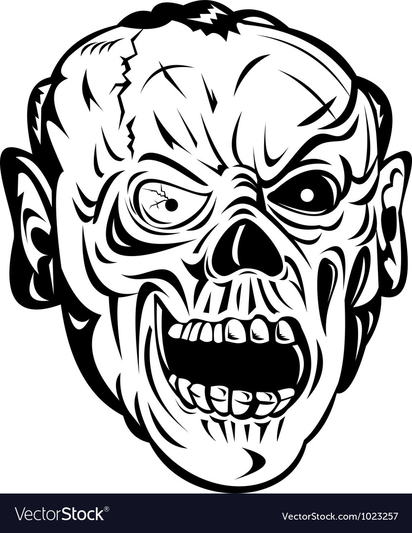 Zombie skull face monster vector | Price: 1 Credit (USD $1)