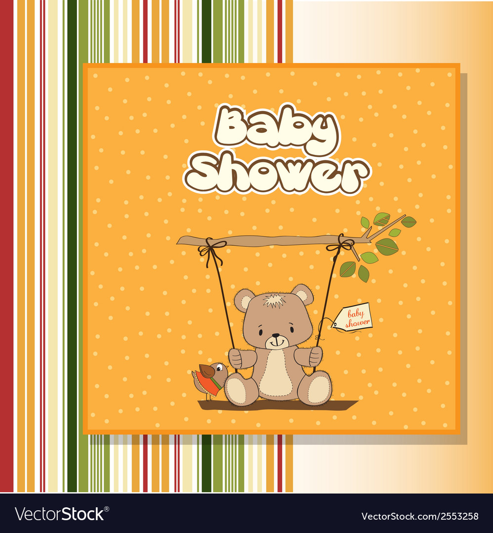 Baby greeting card with teddy bear vector | Price: 1 Credit (USD $1)
