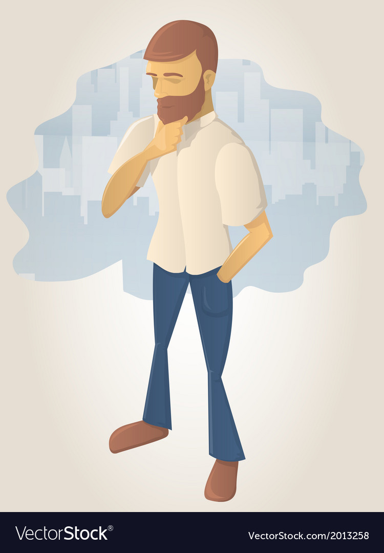 Bearded man in thought vector | Price: 1 Credit (USD $1)