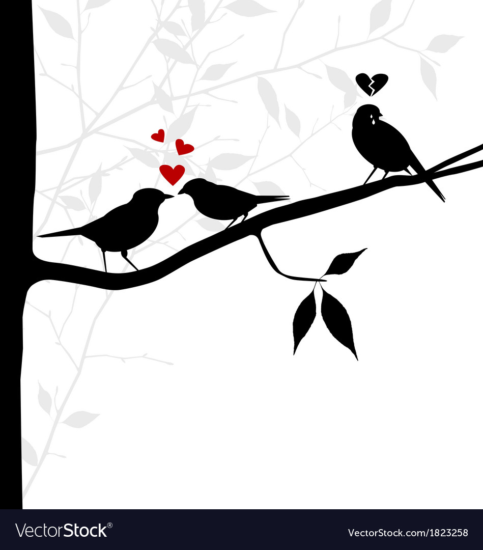 Birds on tree branch - love and sadness vector | Price: 1 Credit (USD $1)