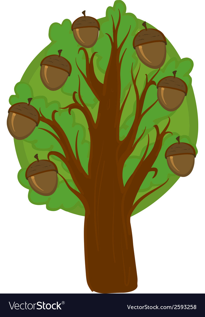 Cartoon oak tree isolated vector | Price: 1 Credit (USD $1)