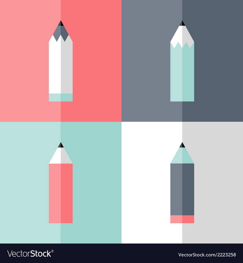 Flat pencil icon set vector | Price: 1 Credit (USD $1)