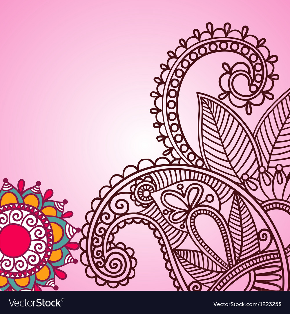 Henna doodle floral pattern vector | Price: 1 Credit (USD $1)