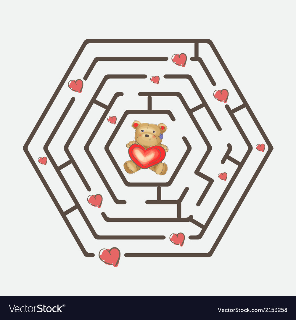 Hexagonal maze vector | Price: 1 Credit (USD $1)