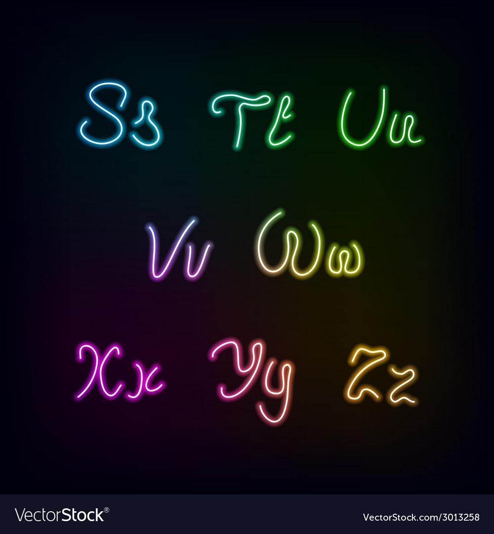 Neon rainbow color glow alphabet vector   Price: 1 Credit (USD $1)