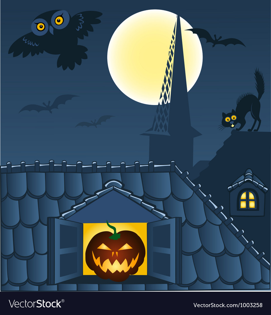 Night town roofs vector | Price: 1 Credit (USD $1)
