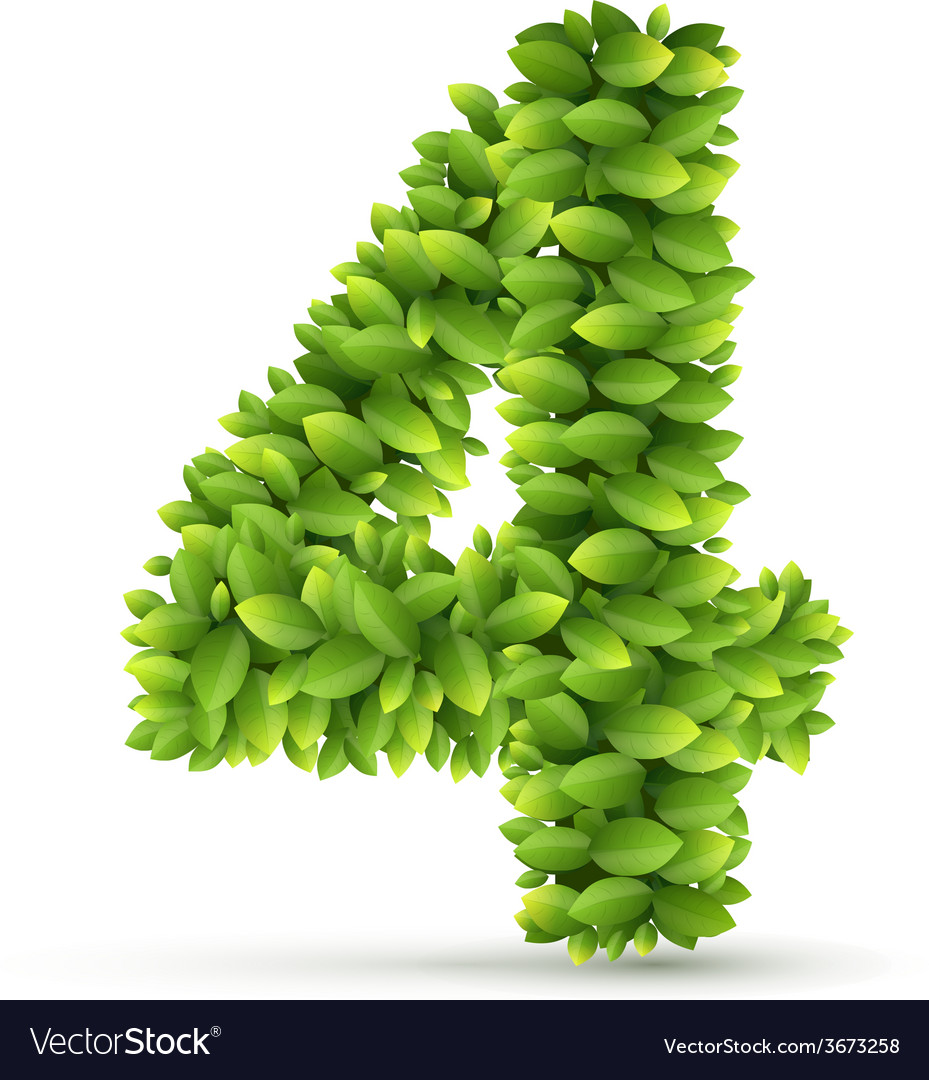 Number alphabet of green leaves vector   Price: 1 Credit (USD $1)