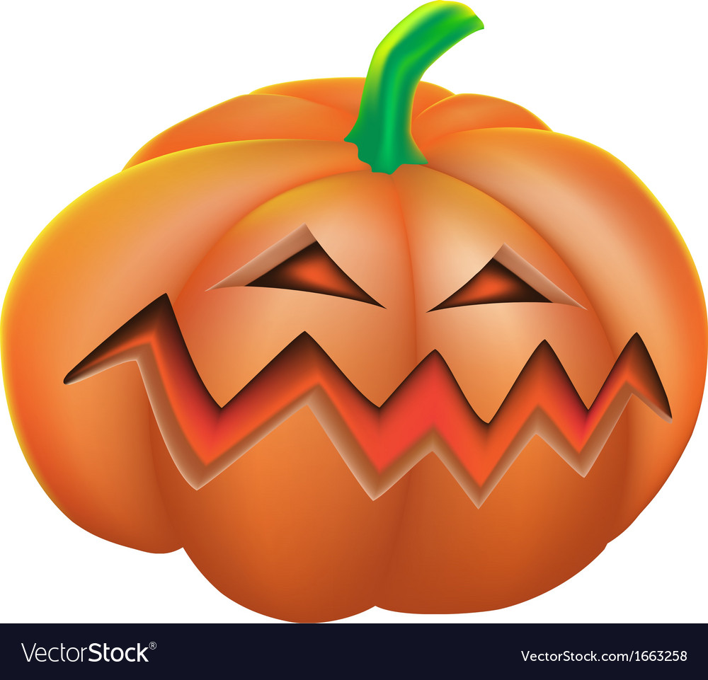 Pumpkin angry on white background vector | Price: 1 Credit (USD $1)