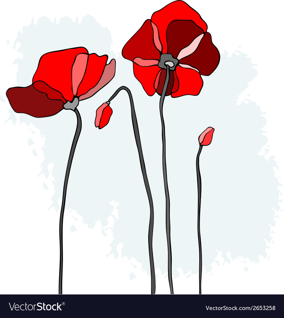 Red poppies on a sky background vector | Price: 1 Credit (USD $1)