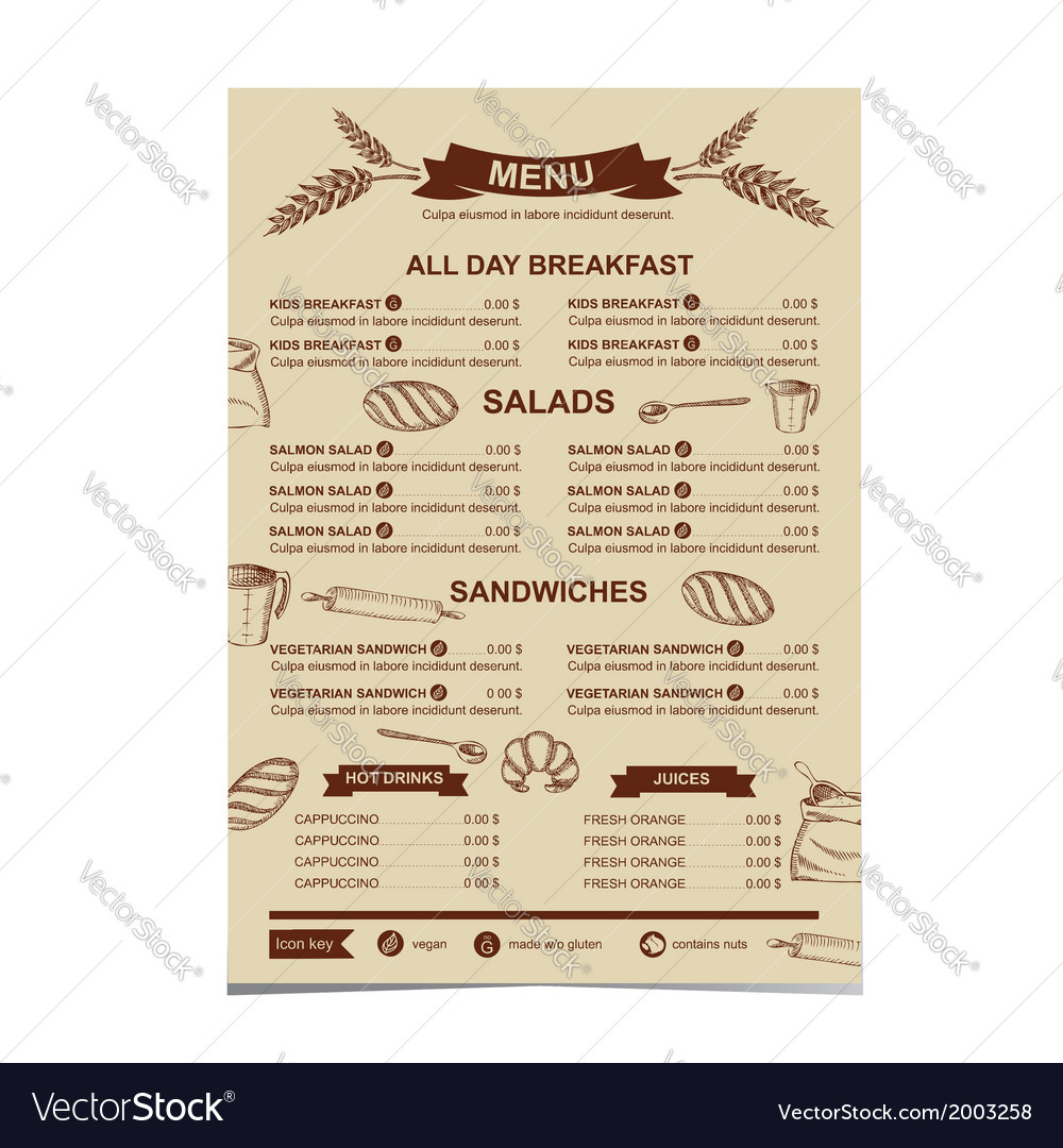 Restaurant menu bakery and cafe vector | Price: 1 Credit (USD $1)