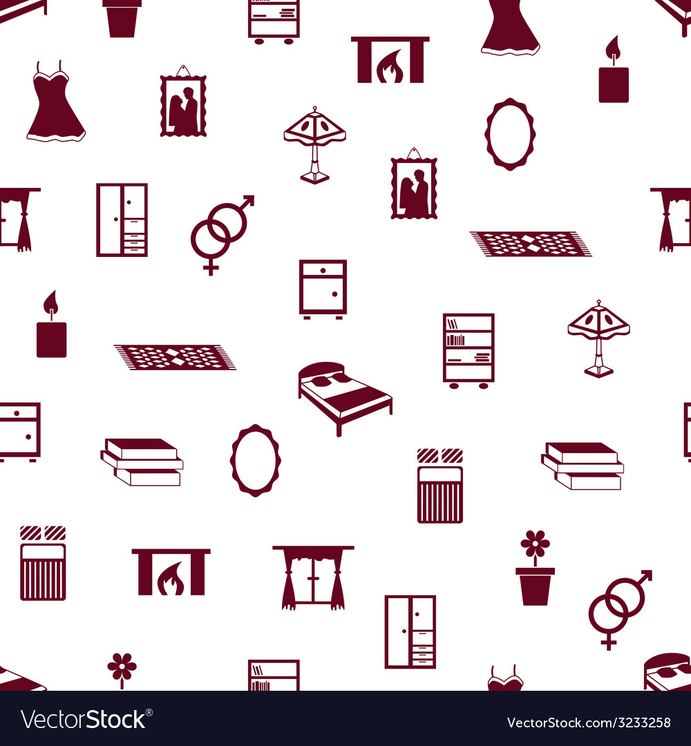 Seamless bedroom pattern vector | Price: 1 Credit (USD $1)