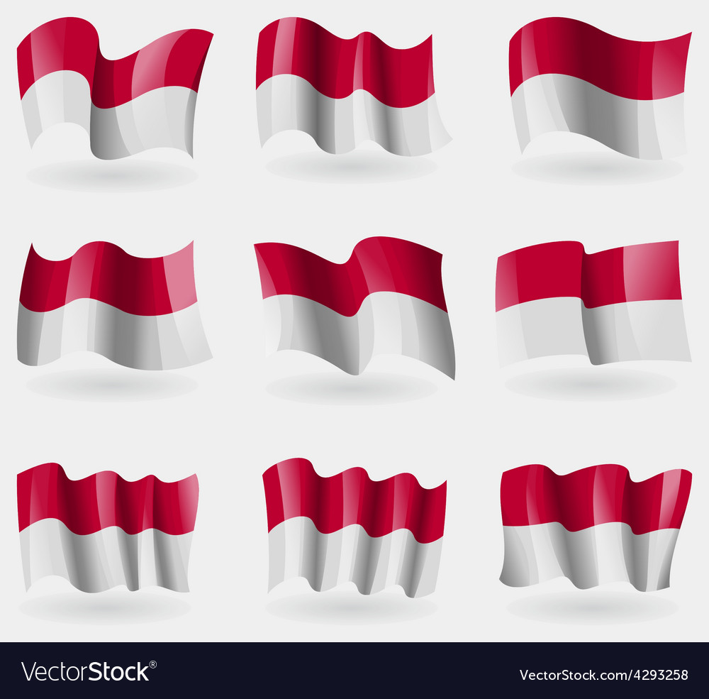 Set of indonesia flags in the air vector | Price: 3 Credit (USD $3)