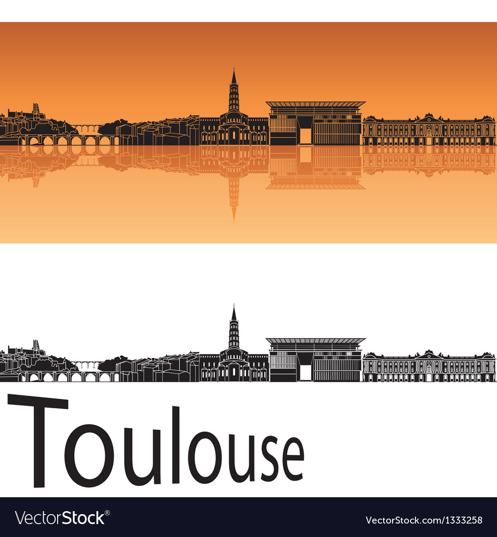 Toulouse skyline in orange background vector | Price: 1 Credit (USD $1)