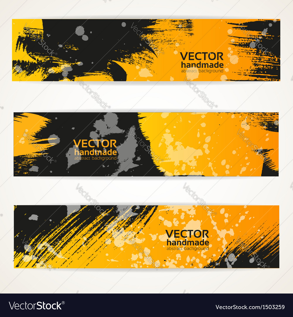 Abstract black and yellow handdraw banner set vector | Price: 1 Credit (USD $1)