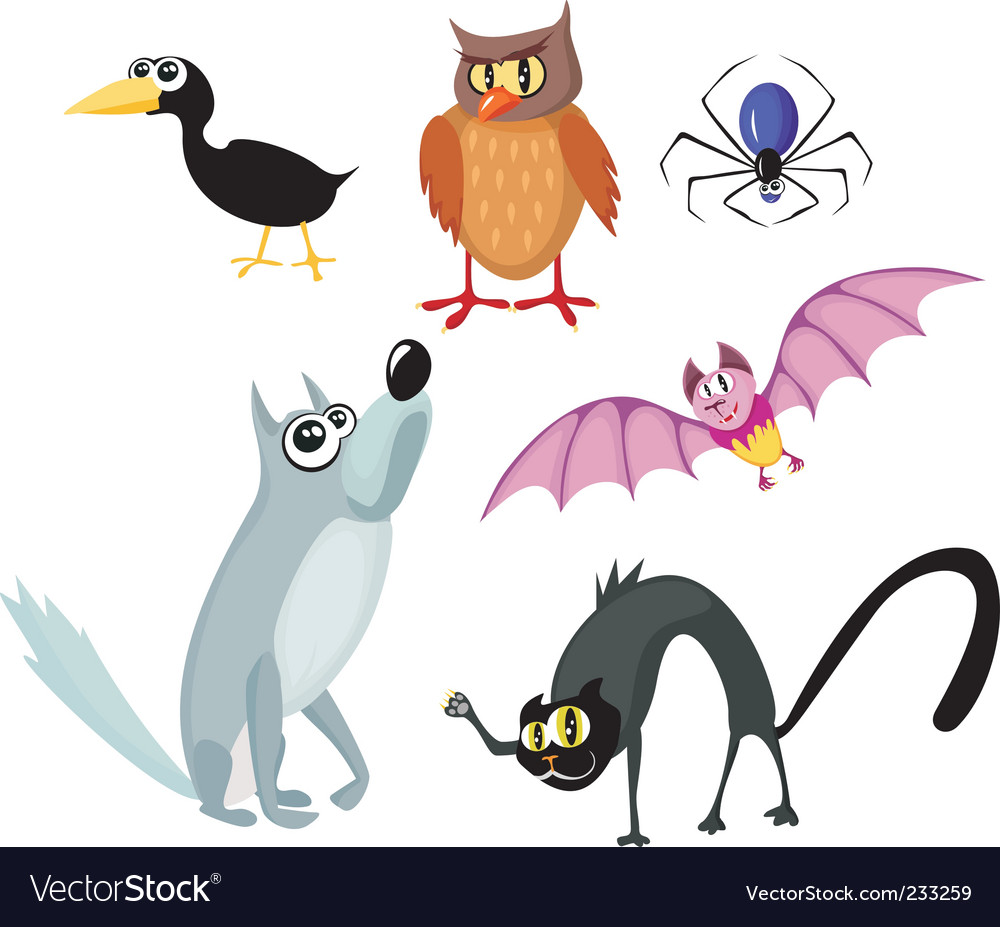 Animals halloween set vector | Price: 1 Credit (USD $1)