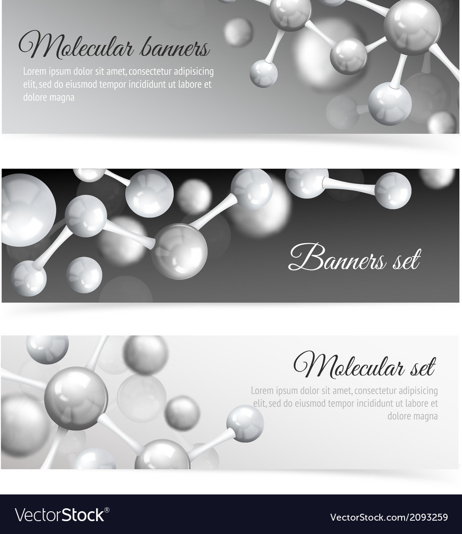 Black and white molecule banners set vector | Price: 1 Credit (USD $1)