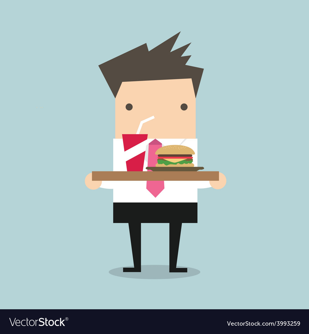 Businessman carrying a tray of food vector | Price: 1 Credit (USD $1)