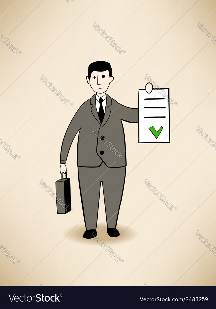 Businessman with signed contract vector | Price: 1 Credit (USD $1)