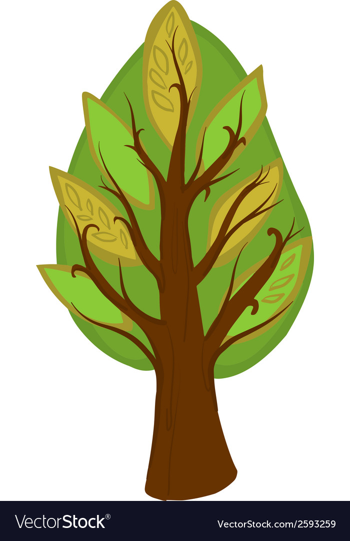 Cartoon tree isolated vector | Price: 1 Credit (USD $1)