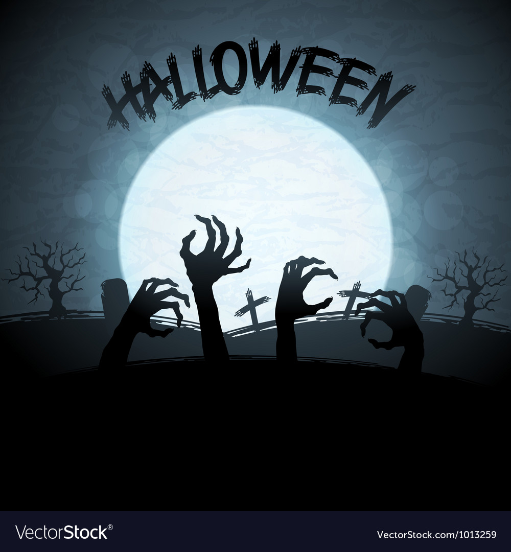 Eps 10 halloween background with zombies and the vector