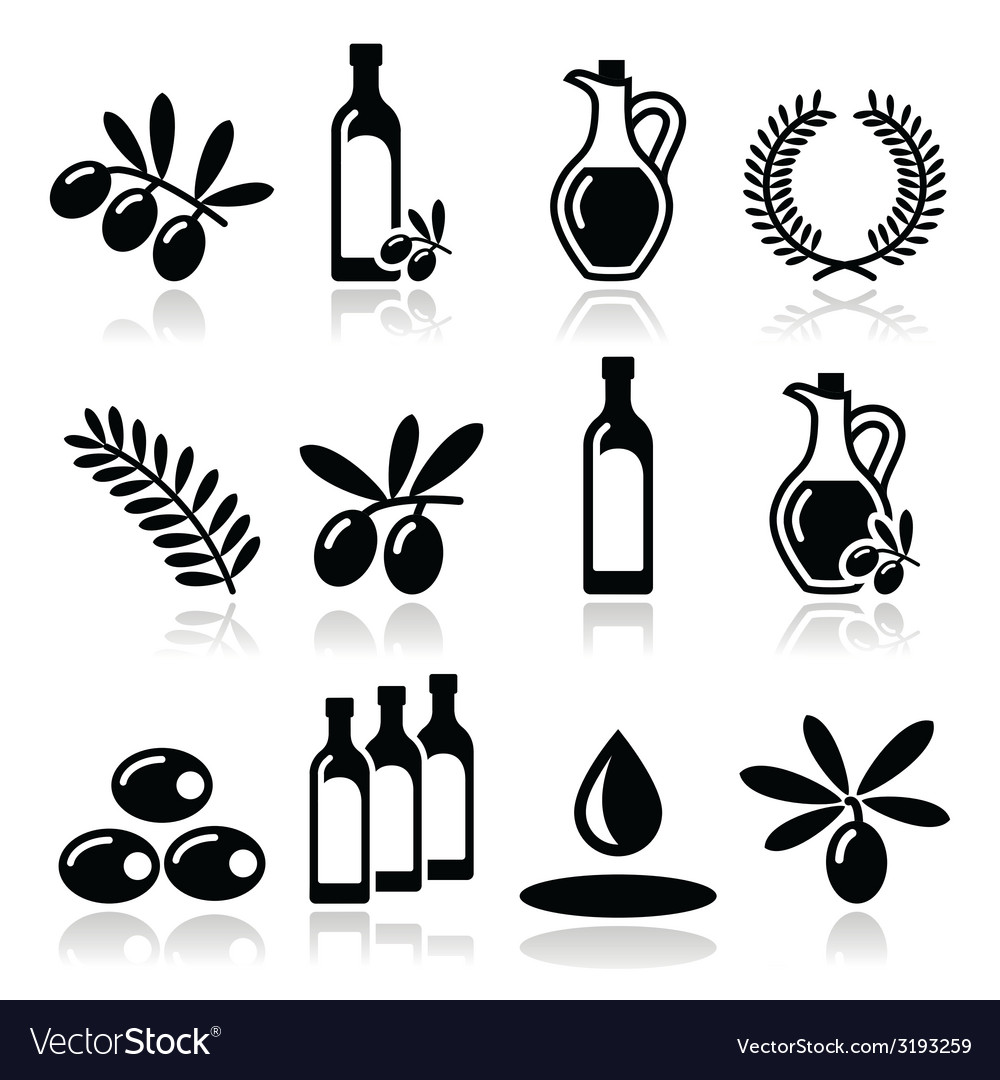Olive oil olive branch icons set vector | Price: 1 Credit (USD $1)
