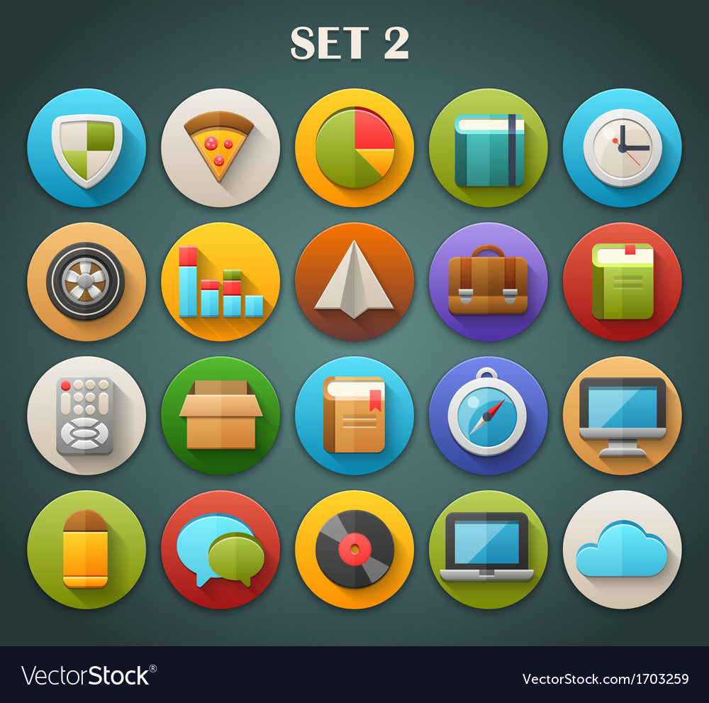 Round bright icons with long shadow set 2 vector | Price: 1 Credit (USD $1)