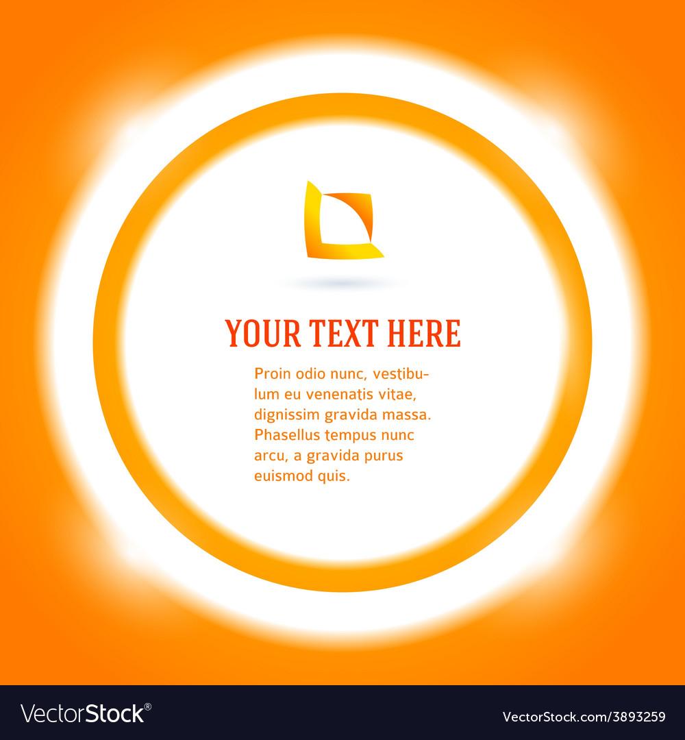 Round frame message bright orange background vector | Price: 1 Credit (USD $1)