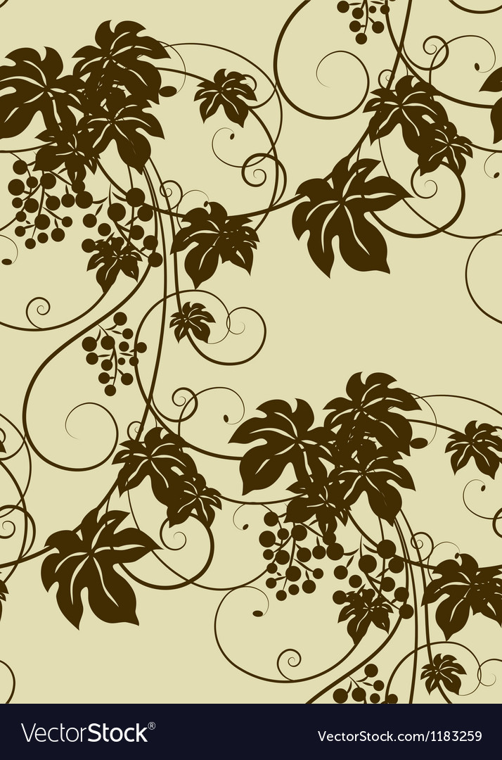 Seamless grape vines background vector | Price: 1 Credit (USD $1)