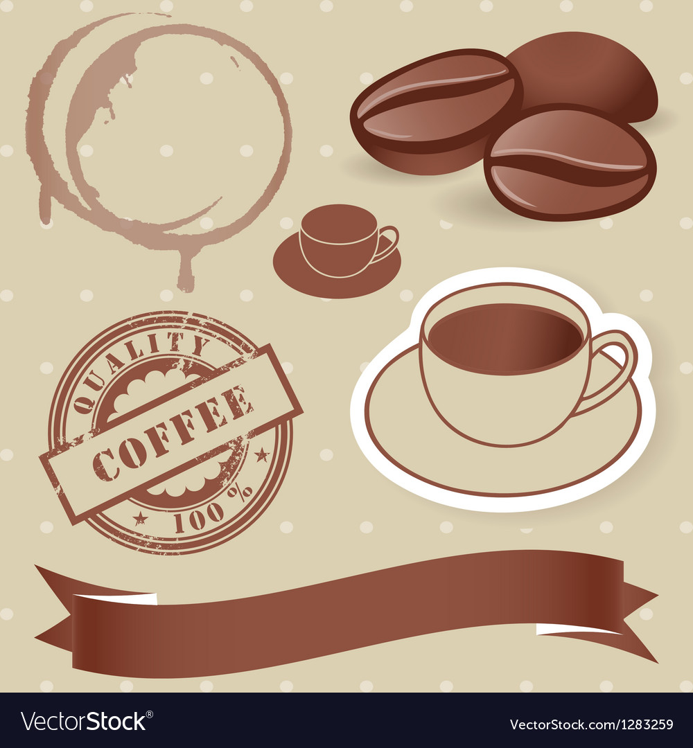 Set of vintage coffee elements vector | Price: 1 Credit (USD $1)