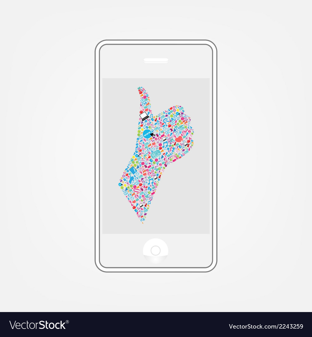 Template design phone idea with social network ico vector | Price: 1 Credit (USD $1)