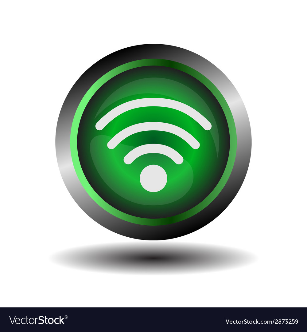 Wifi button symbol on green glossy vector | Price: 1 Credit (USD $1)