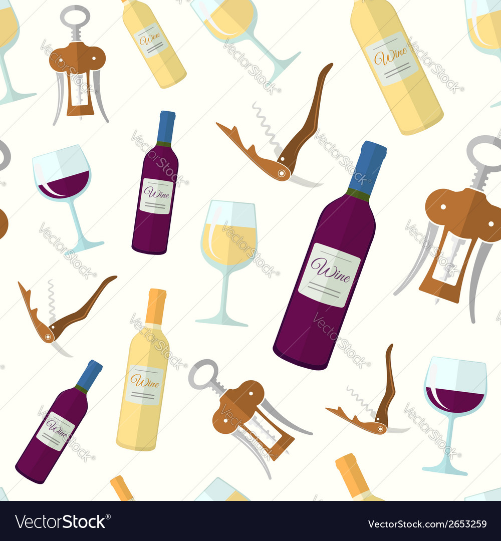 Wine seamless pattern vector | Price: 1 Credit (USD $1)