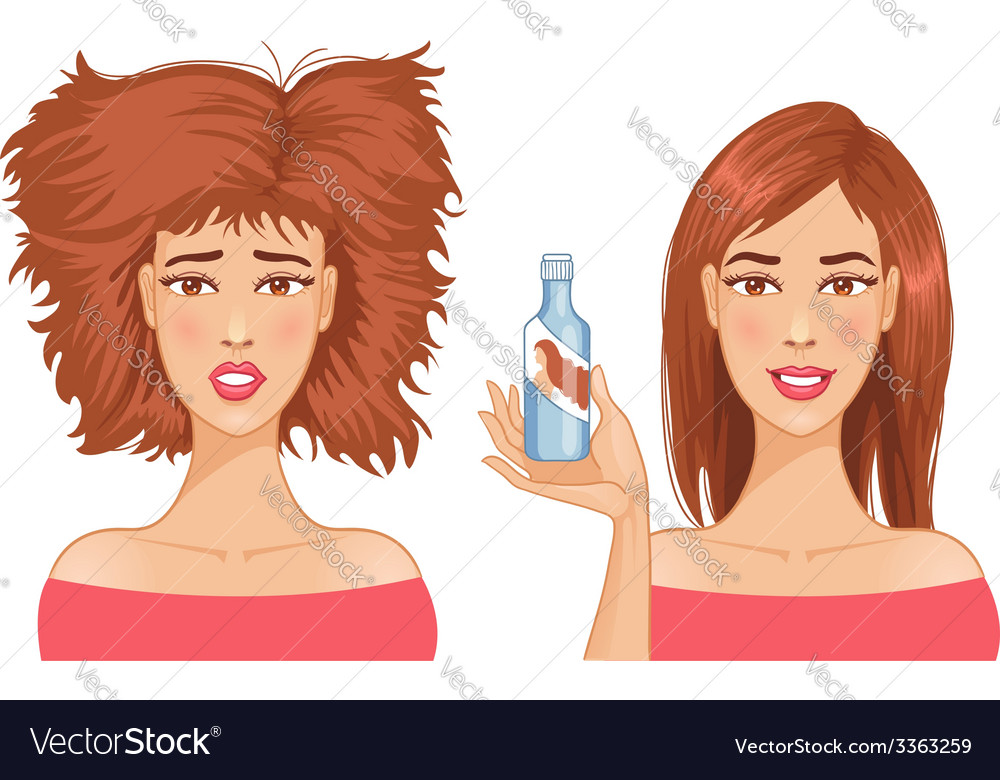 Young woman with hair-dress before and after care vector   Price: 1 Credit (USD $1)