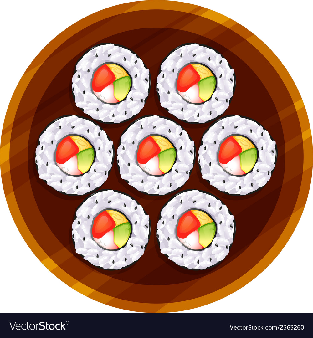 A topview of the sushi at the table vector | Price: 1 Credit (USD $1)