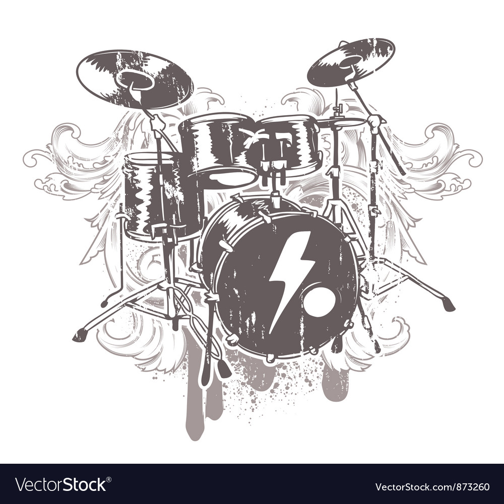 Drums emblem vector | Price: 1 Credit (USD $1)
