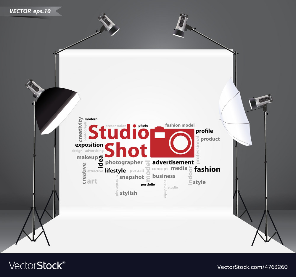 Empty photo studio with lighting equipment vector | Price: 1 Credit (USD $1)