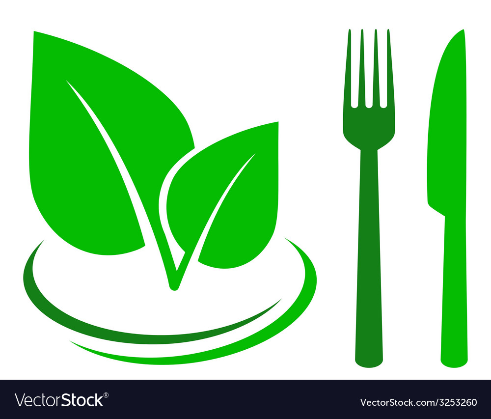 Green sign with leaf and cutlery vector | Price: 1 Credit (USD $1)