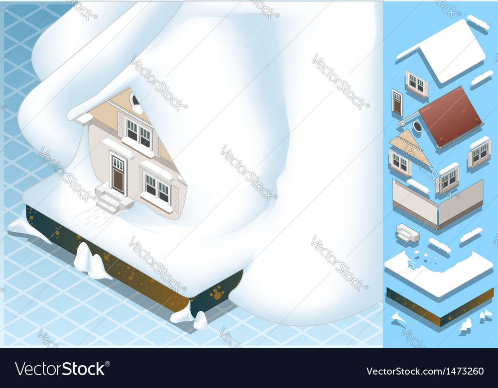 Isometric house hit by landslide of snow vector | Price: 1 Credit (USD $1)