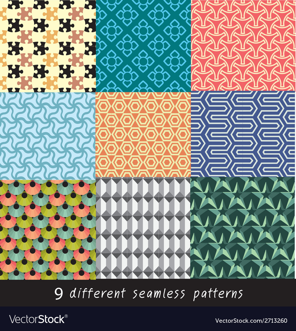 Nine geometric patterns and seamless 3d design vector | Price: 1 Credit (USD $1)
