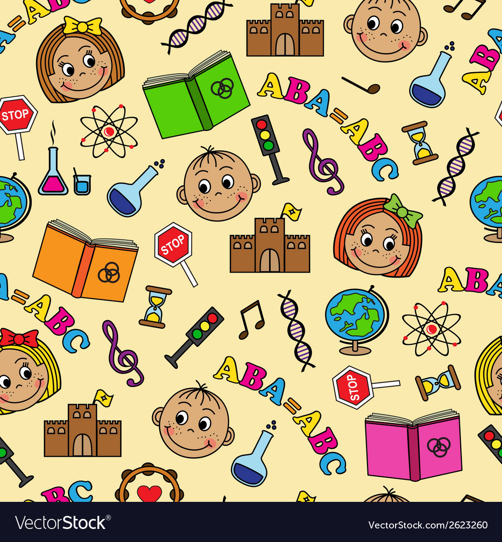 Seamless pattern with children and school symbols vector | Price: 1 Credit (USD $1)