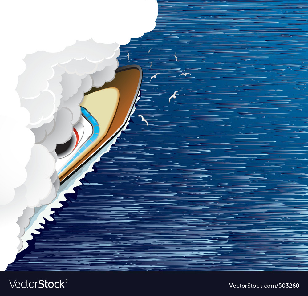 Ship and white smoke vector | Price: 1 Credit (USD $1)