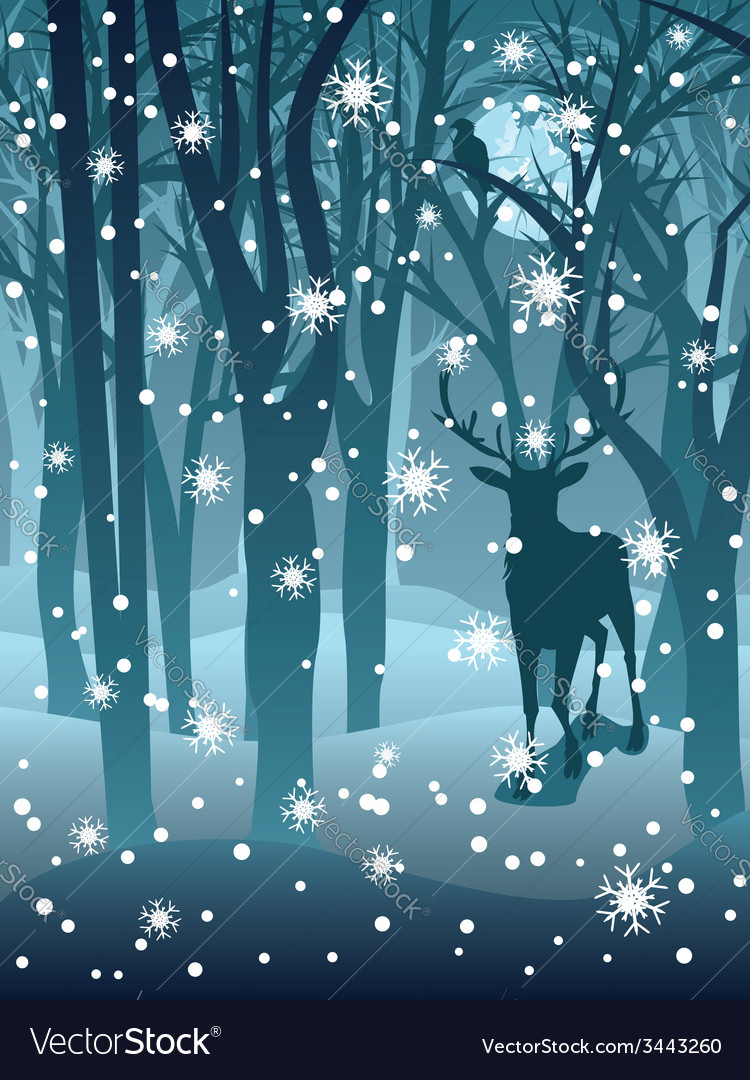 Stag in winter forest2 vector | Price: 1 Credit (USD $1)