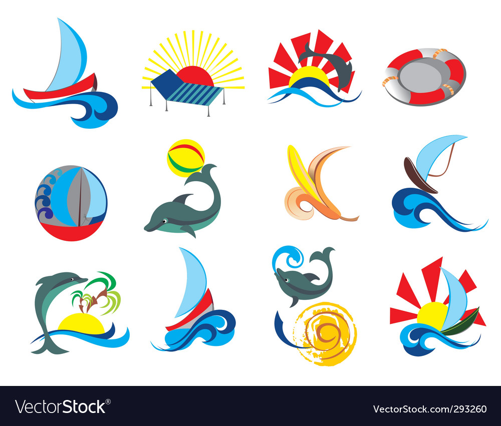 Summer beach travel clip art vector | Price: 1 Credit (USD $1)