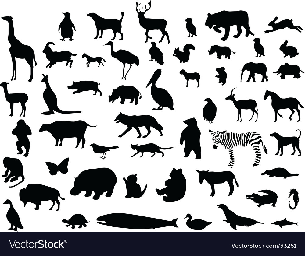 Animal silhouettes set vector | Price: 1 Credit (USD $1)